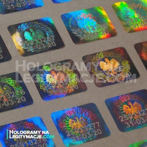 hologram na legitymację z kodem seryjnym