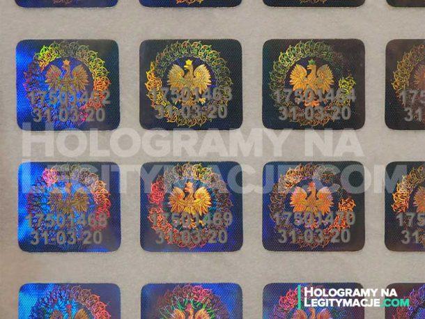 hologramy na legitymacje z numerem seryjnym