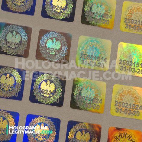 hologram na legitymacje z numerem seryjnym